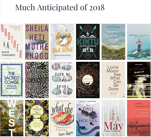Front covers of books chosen as much anticipated in 2018