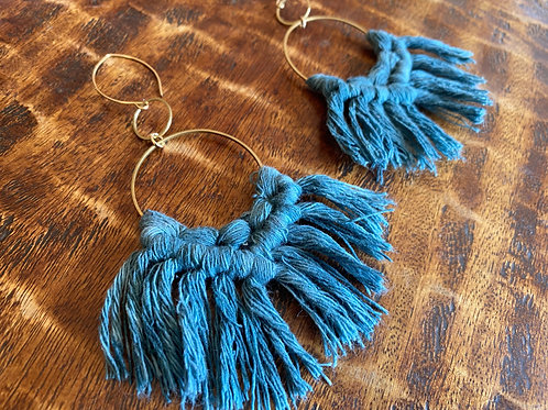 Blue Fringe Hoops