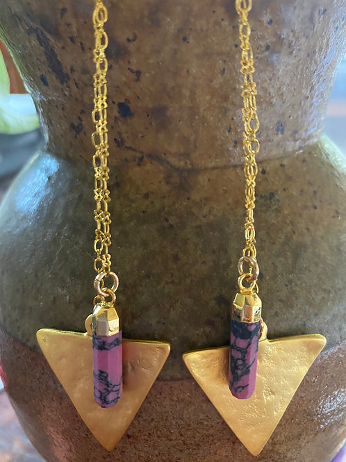 Pink Jasper and gold triangle earrings