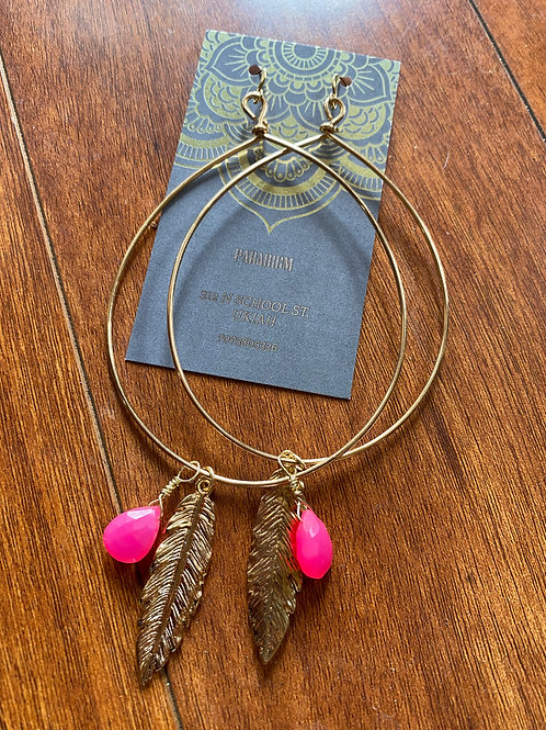 Pink Chalcedony Hoops with Feathers
