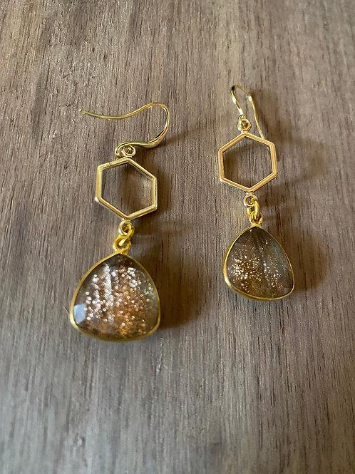 Gold Quartz and Honeycomb Earrings
