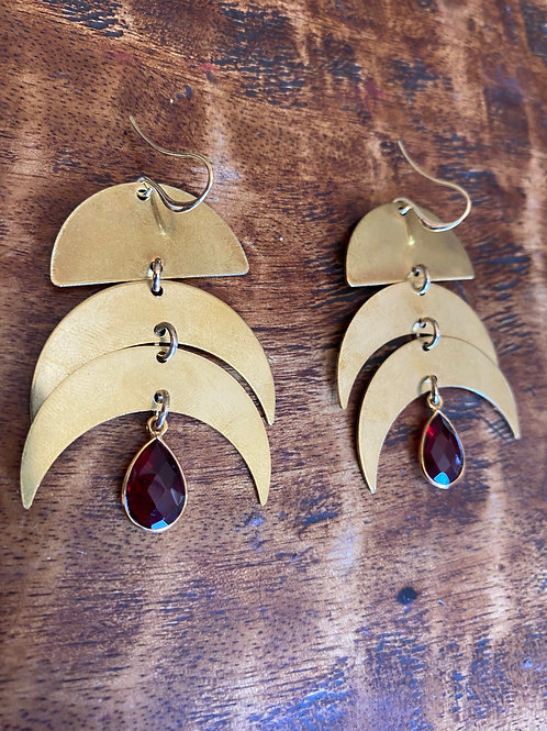 Garnet and Moon Phase Earrings