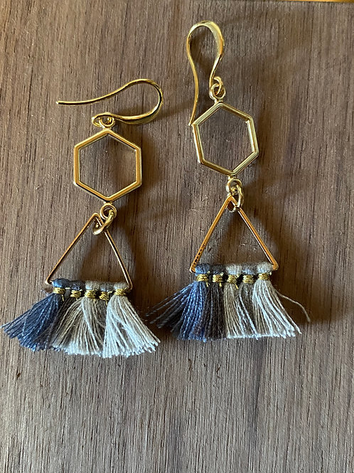 Honeycomb and Blue Fade Tassel Earrings