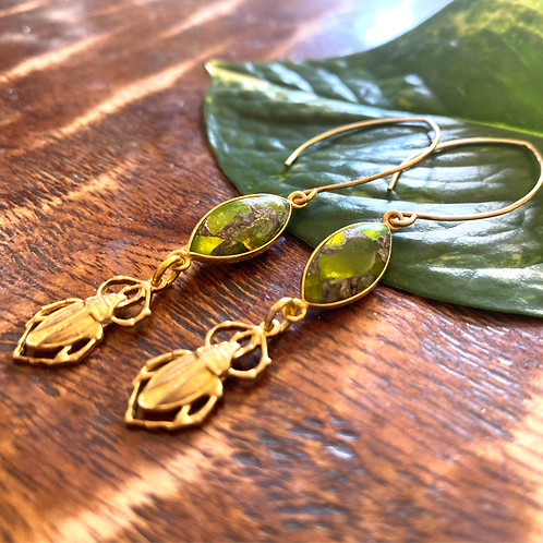Green Spiny Oyster and scarab earrings