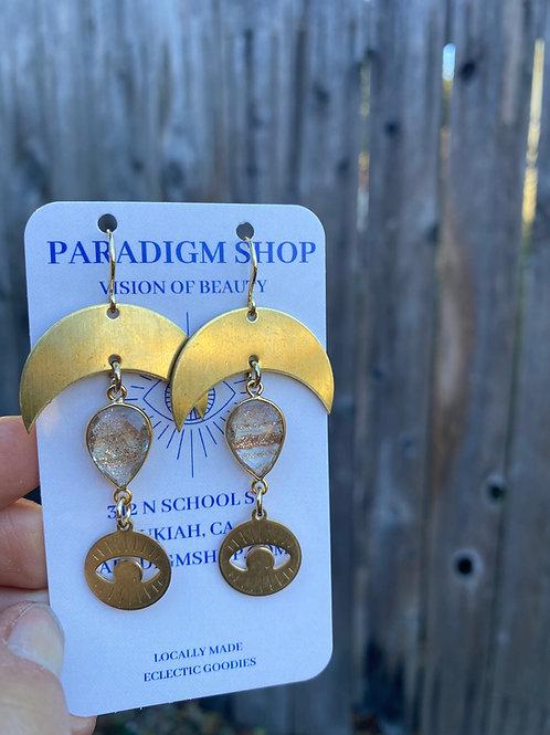 Copper Quartz, eye and moon earrings
