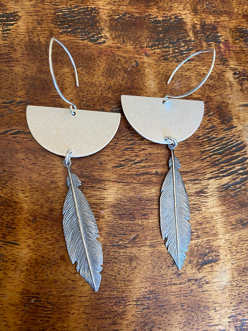 Silver Feather and Half Moon Earrings