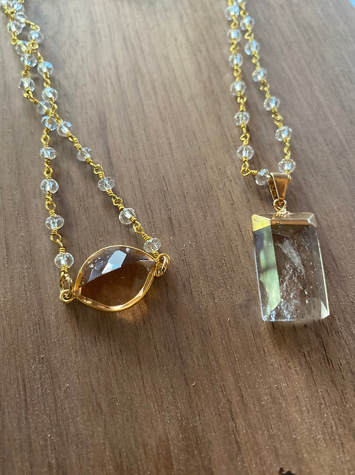 Morganite and Quartz chain