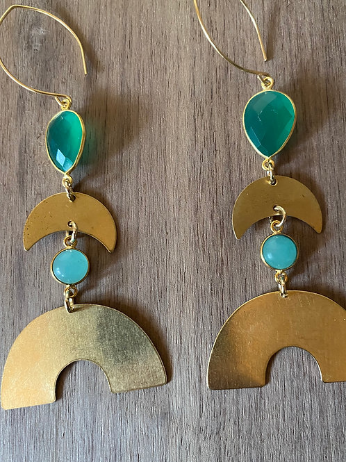 Chrysophase and Chalcedony Earrings