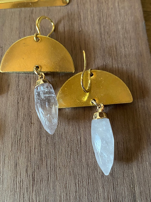 Half Moon and Quartz Earrings