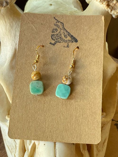 Flowerstone and Chrysophase earrings
