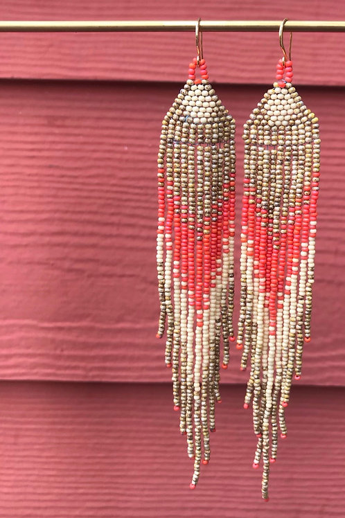 Beaded Gold and Salmon Arrow Earrings