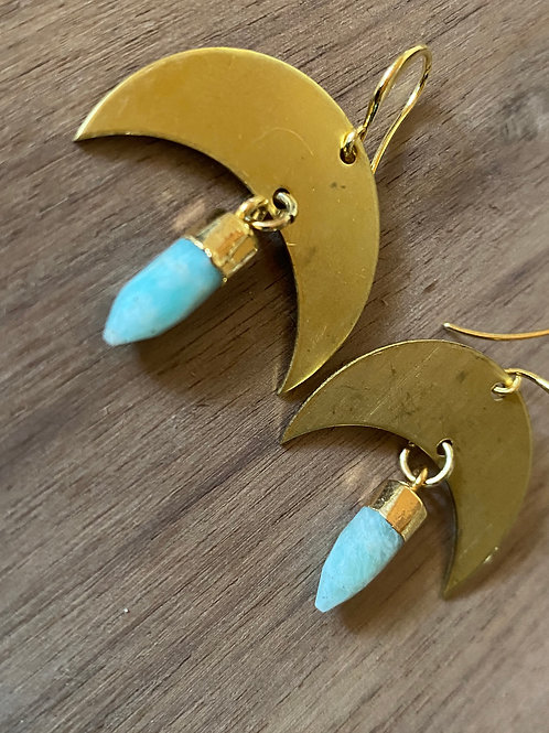 Aquamarine Crescent Earrings