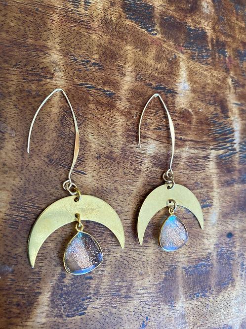 Cooper quartz moon drop earrings