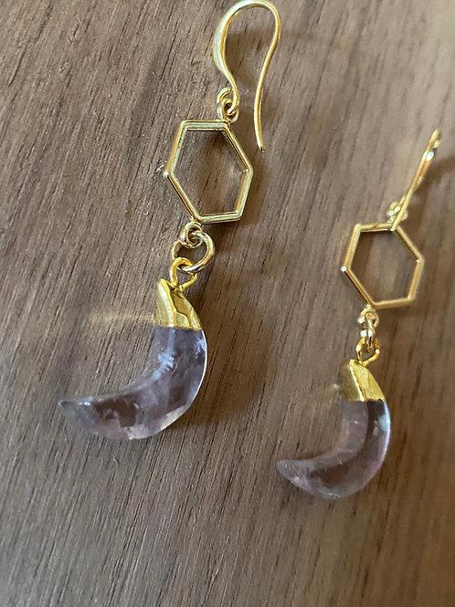 Amethyst and Honeycomb Earrings