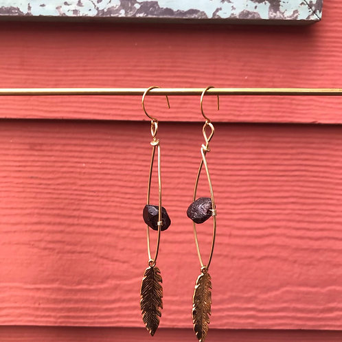 Raw Garnet and Feather Eye Hoops