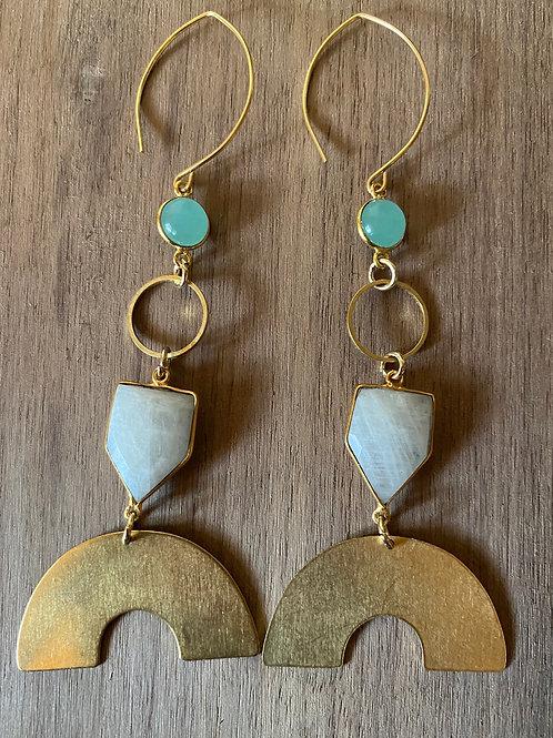 Moonstone and Chalcedony Rainbow Earrings