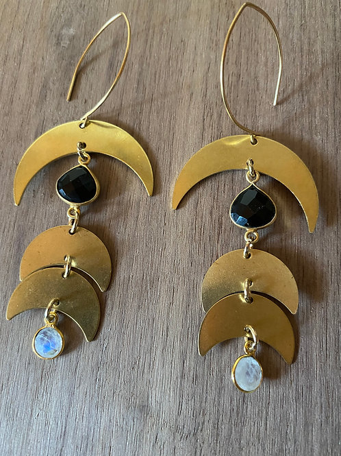 Onyx and Moonstone Phase Earrings