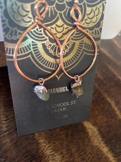 Copper and tourmaline hoops