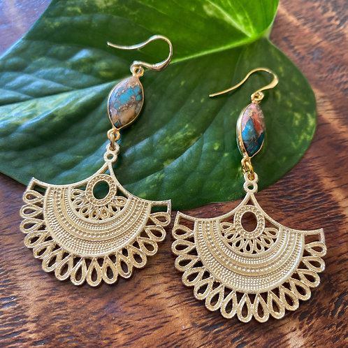 Spiny Oyster and sun earrings