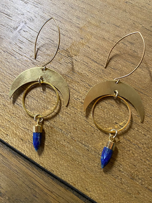 Lapis Lazuli Moon Earrings