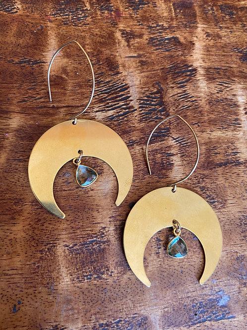 Green Amethyst Moon earrings