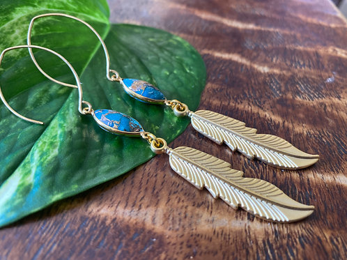 Spiny Oyster and Feather Earrings