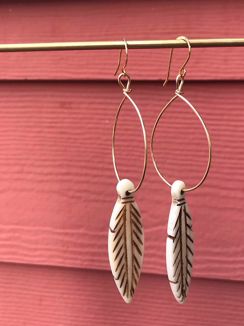 Sale-Bone Feather Hoop