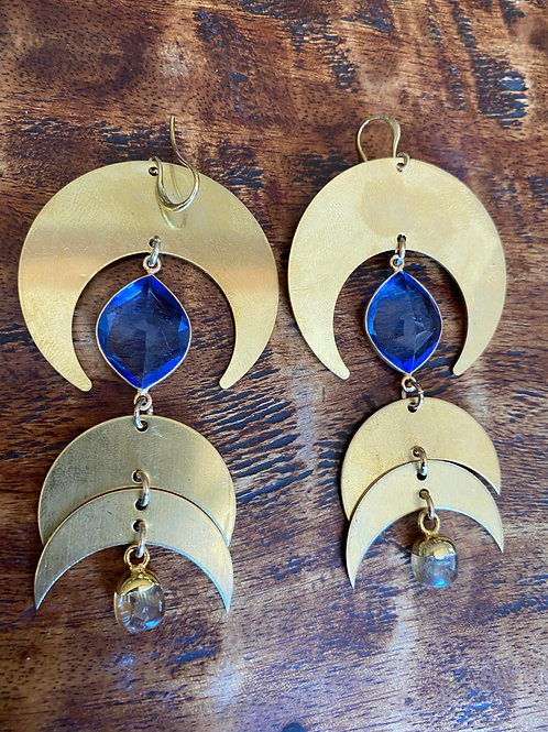 Blue Tanzanite and Tourmaline Moon Phase Earrings