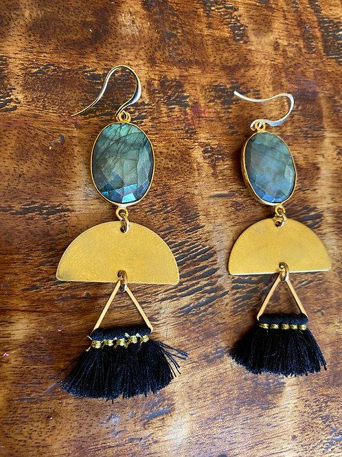 Ladradorite andBlack Tassel Earrings