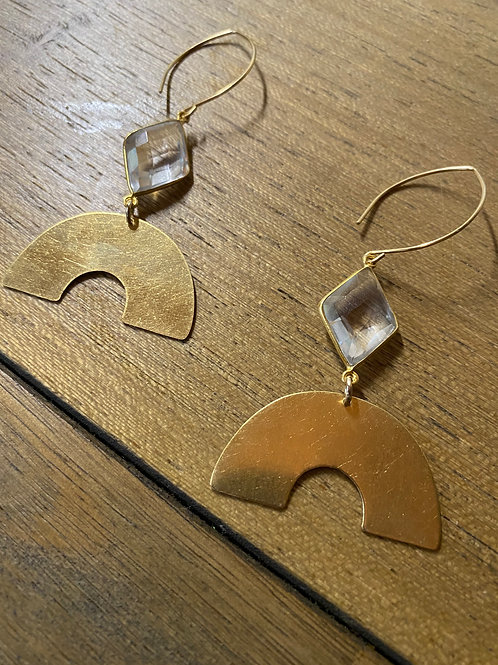 Clear Quartz Moon Earrings