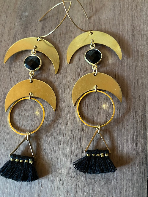 Black Onyx Moon and Tassel Earrings