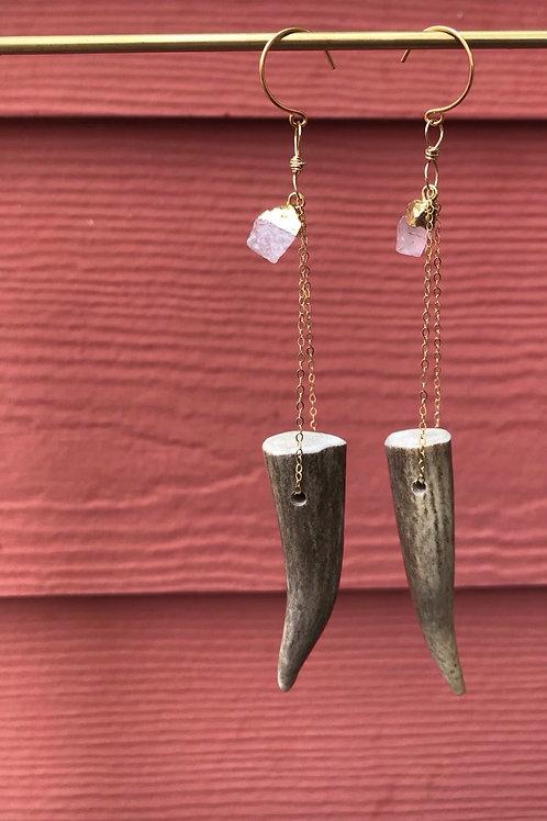 Rose Quartz and Antler Earrings