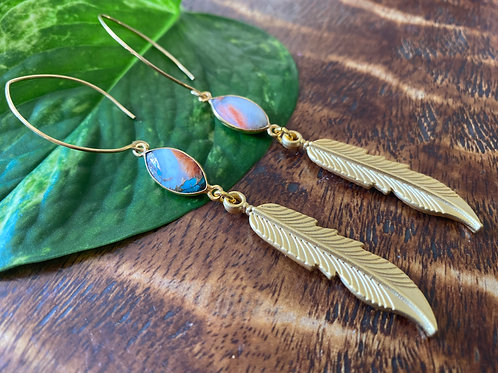 Spiny Oyster Feather Earrings