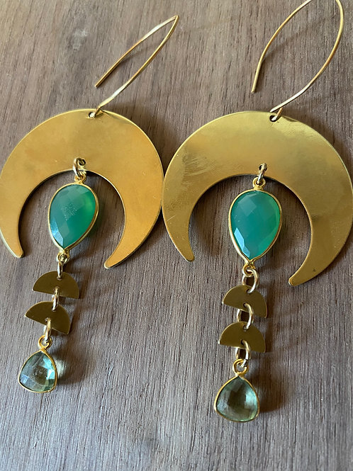 Chrysophase and Green Amethyst Moon and Green Earrings