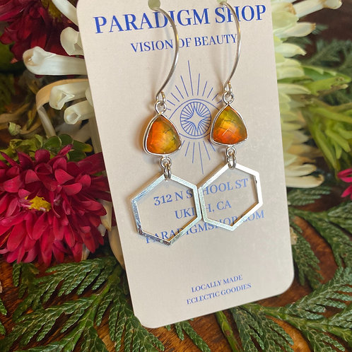 RAINBOW TOURMALINE HONEYCOMB EARRINGS