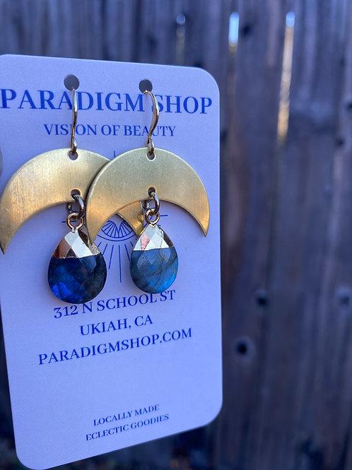 Moon and Labradorite drop earrings