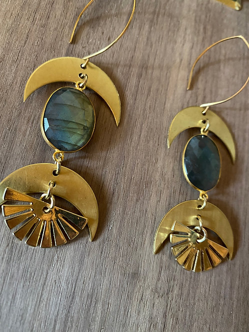 Labradorite Double Moon and Sun Earrings
