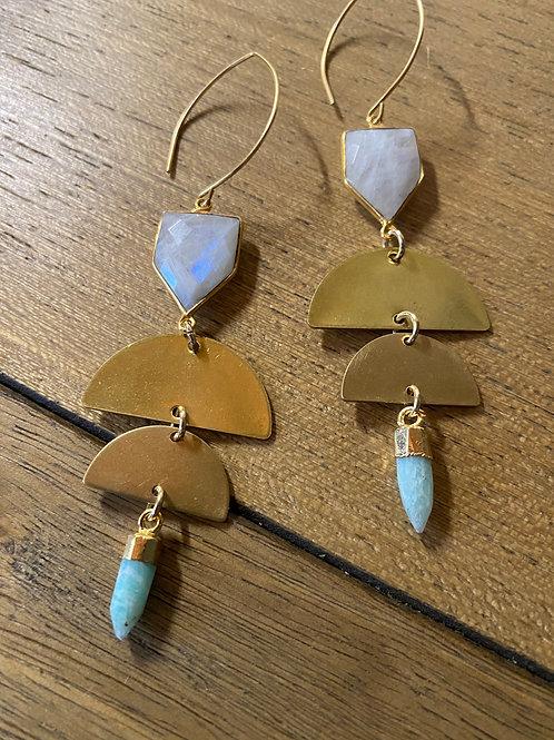 Aquamarine and Moonstone Moonphase earrings