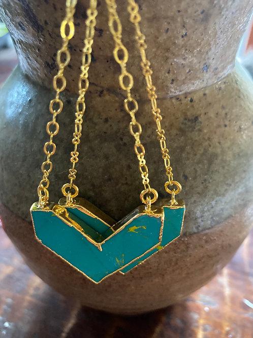 Aqua Jasper Chevron earrings