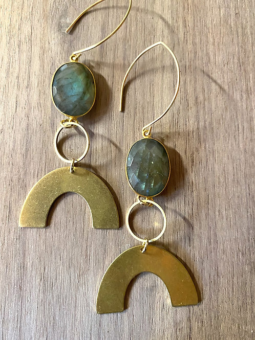 Labradorite and Rainbow Earrings