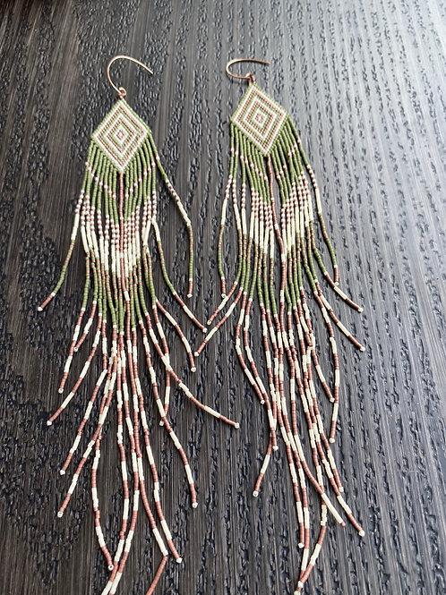 Extra Long Beaded Fringe Earrings
