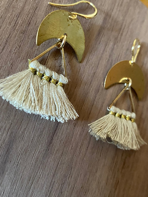 Cream Tassel and Crescent Moon Earrings
