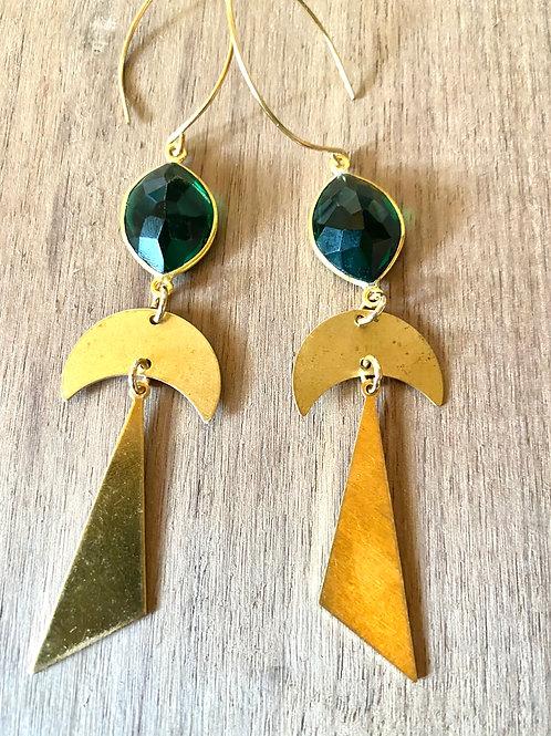 Emerald Moon Triangle Earrings