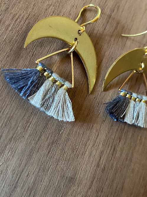 Blue Fade Tassel and Crescent Moon Earrings