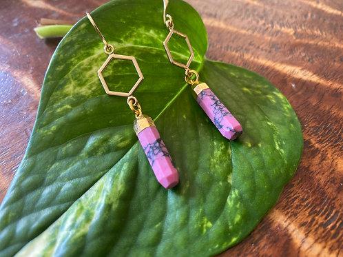 Pink Jasper honeycomb earrings