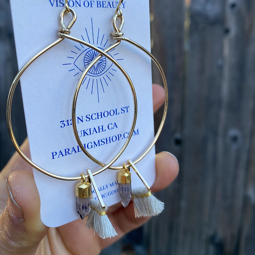 Smoky quartz tassel hoops