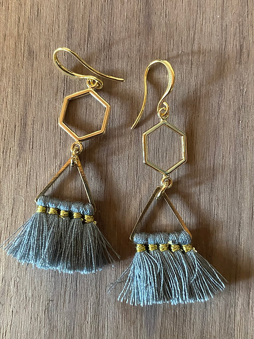 Honeycomb and Blue Tassel Earrings