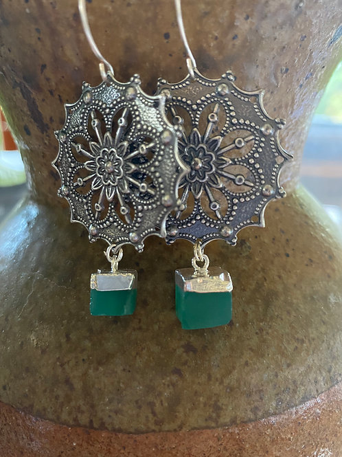 Silver Plated Emerald Earrings