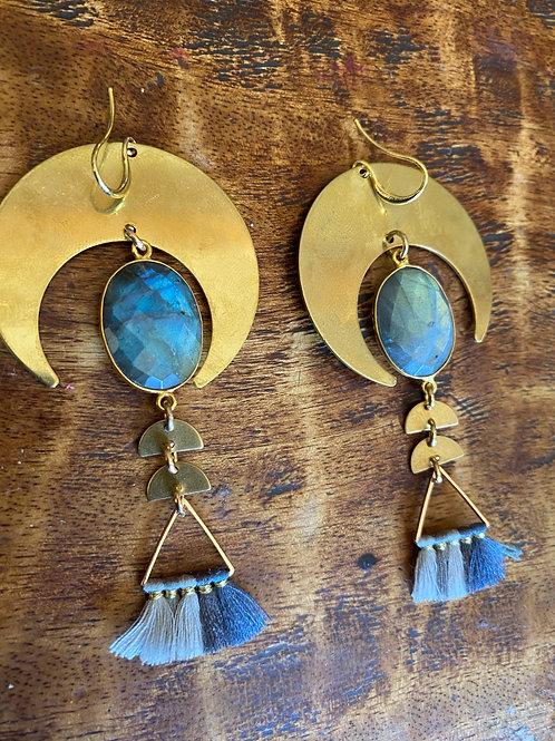 Ladradorite and Blue Tassel Earrings