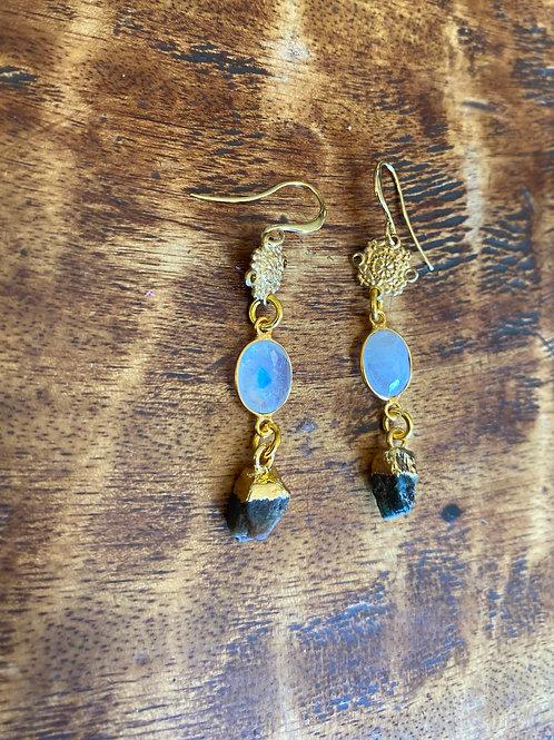 Moonstone and Rough Tourmaline earrings